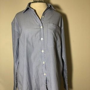 Womens forever 21 button down tunic striped M blue
